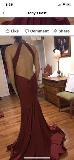 Mac Duggal Red Size 4 Halter Macduggal Mermaid Dress on Queenly