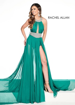 Queenly size 6 Rachel Allan Green Romper/Jumpsuit evening gown/formal dress