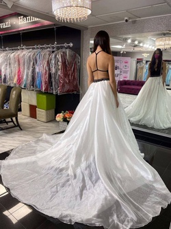 Style wardrobe-1606183236048 Mac Duggal White Size 4 Halter Tall Height Side slit Dress on Queenly