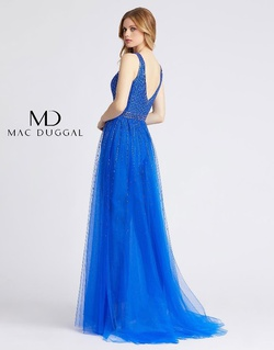 Style 49009A Mac Duggal Blue Size 4 Tall Height V Neck Fitted Romper/Jumpsuit Dress on Queenly