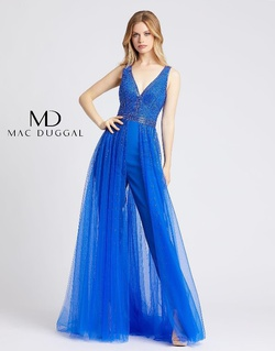 Queenly size 4 Mac Duggal Blue Romper/Jumpsuit evening gown/formal dress