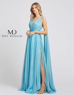 Style 67391L Mac Duggal Blue Size 2 Pageant Prom Side slit Dress on Queenly