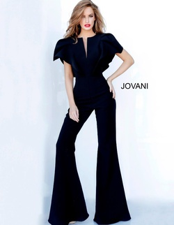 Queenly size 4 Jovani Black Romper/Jumpsuit evening gown/formal dress