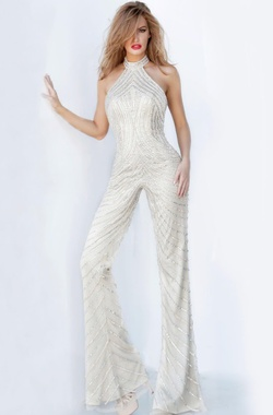 Style JVN00836 Jovani Nude Size 2 Tall Height Romper/Jumpsuit Dress on Queenly