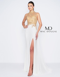 Style 12106M Mac Duggal Gold Size 6 Party Prom Side slit Dress on Queenly