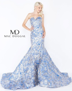 Style 66219M Mac Duggal Blue Size 16 Sweetheart Train Tall Height Mermaid Dress on Queenly