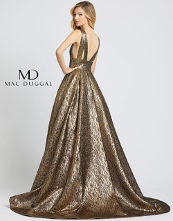 Style 66217D Mac Duggal Gold Size 12 Pageant Backless Tall Height A-line Dress on Queenly