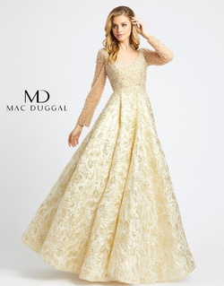 Style wardrobe-1607380498189 Mac Duggal Gold Size 6 Sleeves Tall Height A-line Dress on Queenly