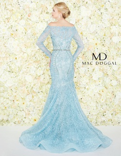 Style 79202D Mac Duggal Blue Size 8 Tall Height Lace Mermaid Dress on Queenly