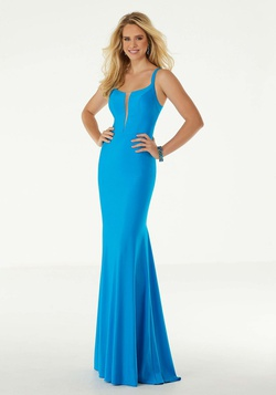 Style 45047 Mori Lee Blue Size 12 Plunge Silk Turquoise Mermaid Dress on Queenly