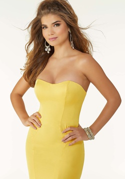 Style 45034 Mori Lee Yellow Size 8 Strapless Sweetheart Tall Height Mermaid Dress on Queenly