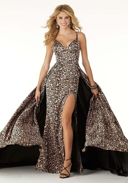 Queenly size 12 Mori Lee Multicolor Side slit evening gown/formal dress