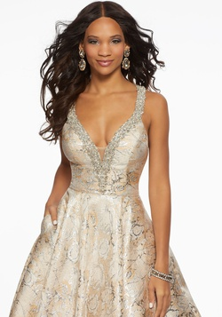 Style 43070 Mori Lee Gold Size 14 Tall Height Lace V Neck A-line Dress on Queenly