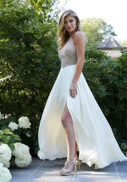 Queenly size 14 Mori Lee White Side slit evening gown/formal dress