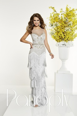 Style 14866 Panoply Silver Size 4 Sweetheart Boat Neck Fitted Straight Dress on Queenly