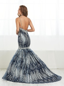 Style 16408 Tiffany Designs Silver Size 14 Plus Size Plunge Mermaid Dress on Queenly