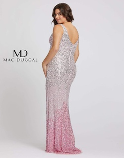 Style 5152F Mac Duggal Pink Size 14 Train Prom Plus Size Sequin Side slit Dress on Queenly