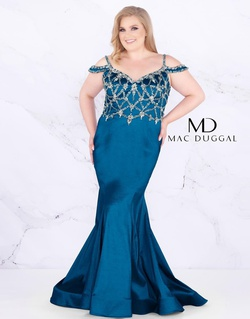 Style 77538F Mac Duggal Blue Size 16 Plus Size Silk Mermaid Dress on Queenly