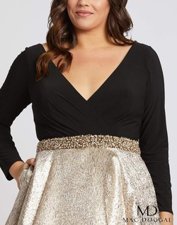 Style 67229F Mac Duggal Gold Size 28 Sleeves Belt Tall Height Ball gown on Queenly