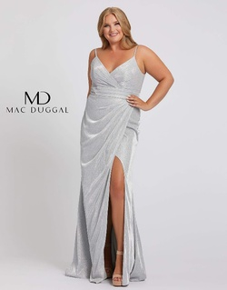 Style 49049F Mac Duggal Silver Size 16 Pageant Plus Size Side slit Dress on Queenly