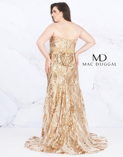Style 66828F Mac Duggal Gold Size 16 Plus Size Plunge Mermaid Dress on Queenly