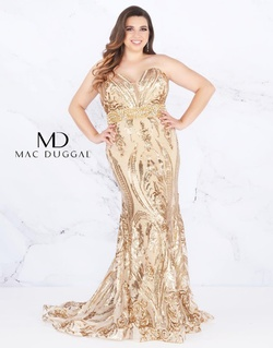 Queenly size 16 Mac Duggal Gold Mermaid evening gown/formal dress