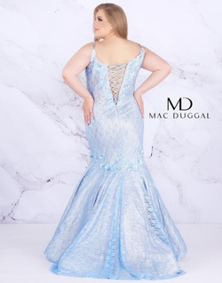 Style 77557F Mac Duggal Blue Size 18 Tall Height Lace V Neck Mermaid Dress on Queenly