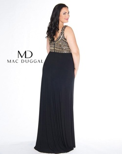 Style 66408F Mac Duggal Gold Size 14 Pageant Prom Plus Size Plunge Side slit Dress on Queenly