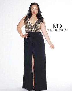 Queenly size 14 Mac Duggal Gold Side slit evening gown/formal dress