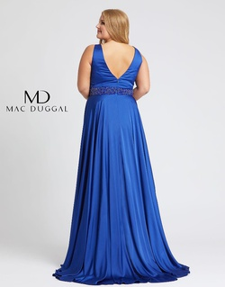 Style 67244F Mac Duggal Blue Size 16 Prom Silk Side slit Dress on Queenly