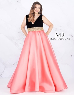 Style 66787F Mac Duggal Pink Size 30 Prom Peach Plus Size A-line Dress on Queenly
