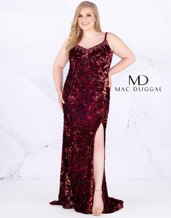 Style 77562F Mac Duggal Burgundy Size 30 Train Prom Plus Size Side slit Dress on Queenly