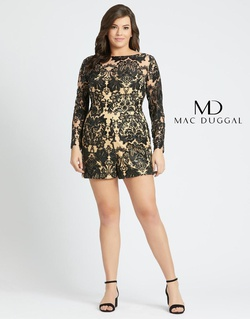 Style 66809F Mac Duggal Multicolor Size 14 Tulle Sequin Silk Romper/Jumpsuit Dress on Queenly
