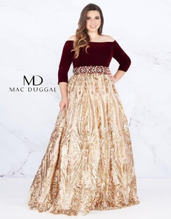 Queenly size 28 Mac Duggal Gold A-line evening gown/formal dress