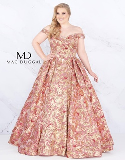 Style 67613F Mac Duggal Multicolor Size 18 Rose Gold Prom Plus Size Ball gown on Queenly