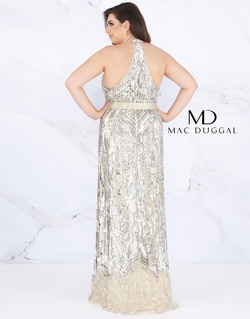 Style 4846F Mac Duggal Silver Size 16 Belt Tall Height Fitted Straight Dress on Queenly