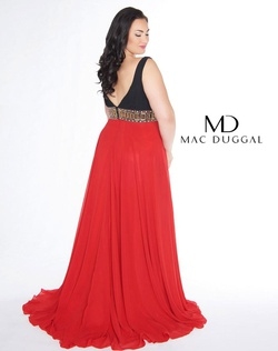 Style wardrobe-1607737785652 Mac Duggal Red Size 28 Prom Plus Size Plunge Straight Dress on Queenly