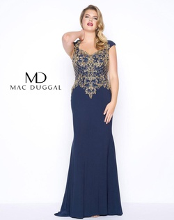 Style 77001F Mac Duggal Blue Size 16 Tall Height Straight Dress on Queenly