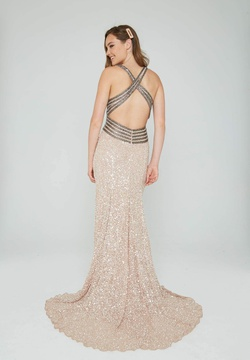 Style 074 Aleta Nude Size 12 Pageant Plus Size Side slit Dress on Queenly