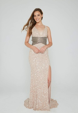 Style 074 Aleta Nude Size 14 Pageant Side slit Dress on Queenly