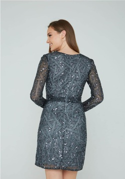 Style 138 Aleta Silver Size 2 Sheer Long Sleeve Cocktail Dress on Queenly