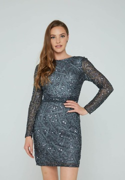 Style 138 Aleta Silver Size 8 Sheer Long Sleeve Cocktail Dress on Queenly