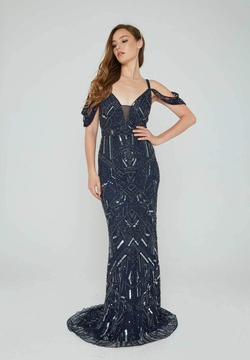 Style 153 Aleta Blue Size 16 Navy Plus Size Straight Dress on Queenly