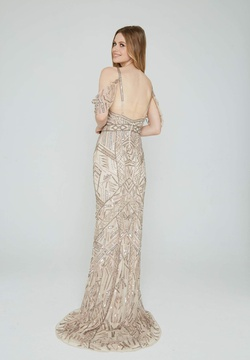 Style 153 Aleta Gold Size 4 Prom Tall Height Straight Dress on Queenly