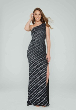 Style 158 Aleta Black Size 8 One Shoulder Tall Height Side slit Dress on Queenly