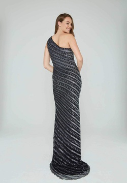 Style 158 Aleta Black Size 10 One Shoulder Tall Height Side slit Dress on Queenly