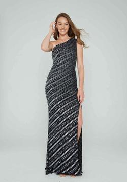 Queenly size 14 Aleta Black Side slit evening gown/formal dress