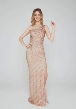 Style 158 Aleta Rose Gold Size 4 One Shoulder Side slit Dress on Queenly