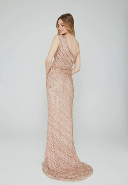 Style 158 Aleta Gold Size 10 One Shoulder Tall Height Side slit Dress on Queenly