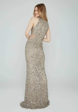 Style 163 Aleta Gold Size 10 Pageant Sheer Tall Height LONG Dress on Queenly